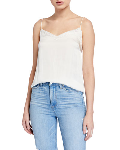 Cicely Satin Camisole w/ Scalloped Trim