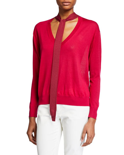 Jacque Two-Tone Tie-Neck Sweater