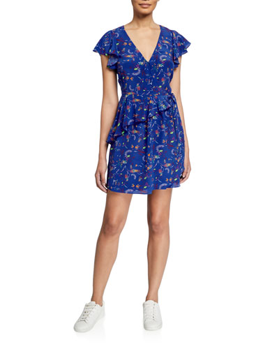 Madelena Printed Ruffle Wrap Dress
