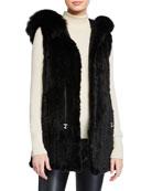 Belle Fare Long Knit Mink Fur Vest w/