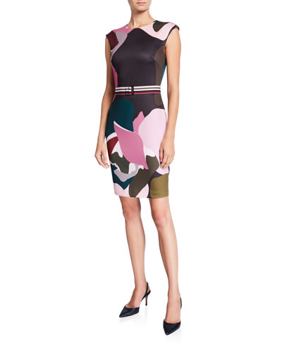 Strawberry Swirl Cap-Sleeve Bodycon Dress