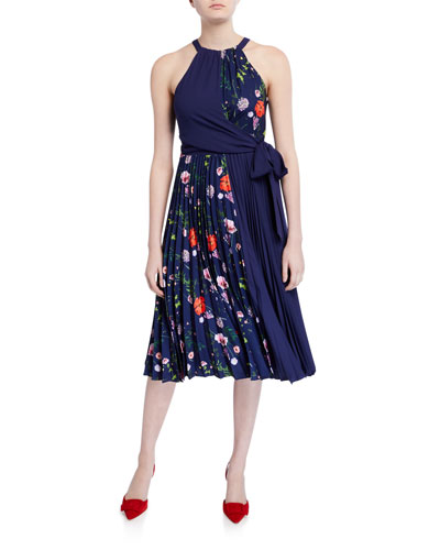 Hedgerow Floral Pleated Halter Dress