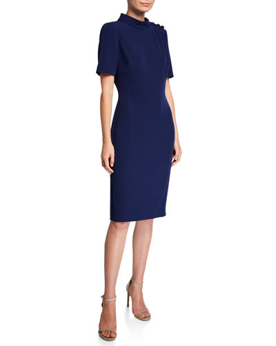 Mock-Neck Short Sleeve Butter Crepe Dress with Button Detailing