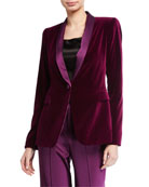 Alice + Olivia Macey Fitted Strong-Shoulder Blazer