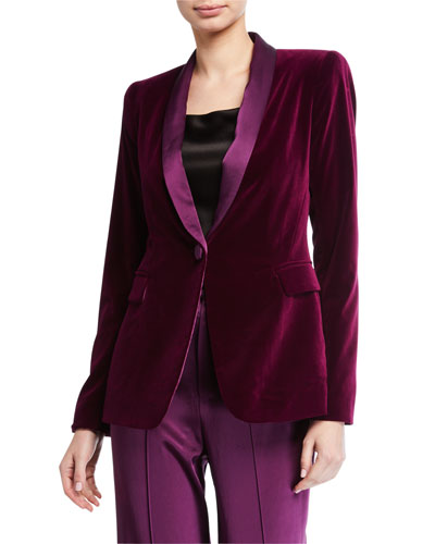 Macey Fitted Strong-Shoulder Blazer