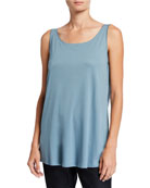 Eileen Fisher Plus Size Long Interlock Scoop-Neck Tank