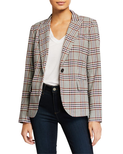 Plaid Single-Button Blazer w/ Pockets
