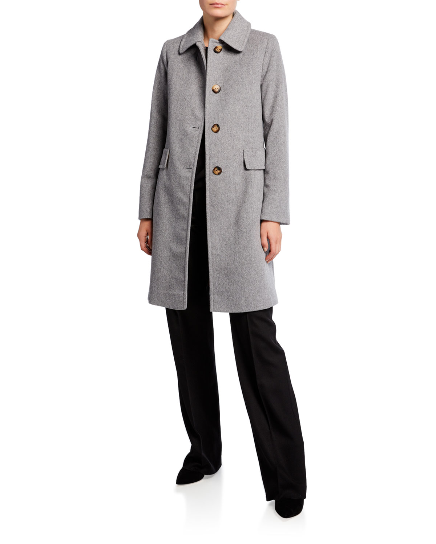 Button-Front Back-Belt Wool Coat