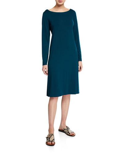 Petite Jersey Bateau-Neck Long-Sleeve Dress