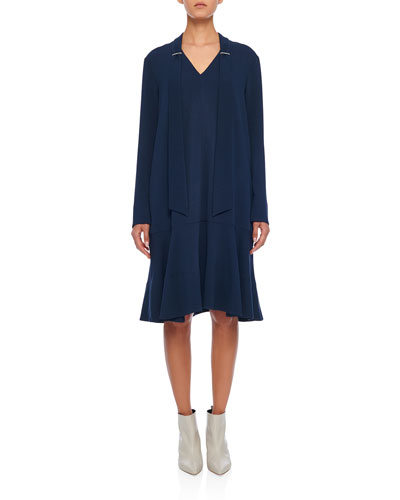 Savannah Crepe Easy Tie-Neck Dress
