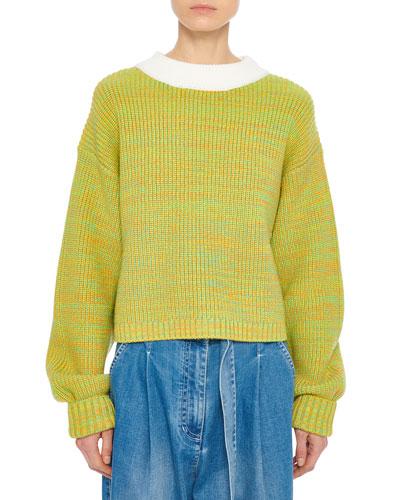 Wool Tweedy Cropped Crewneck Sweater