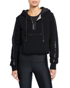 Blanc Noir Cropped Knit Packable Hoodie