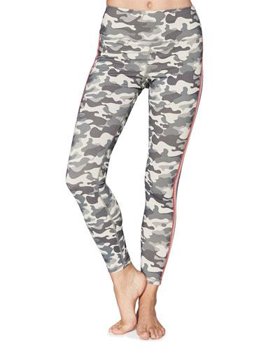 Camo-Print Perfect Glitter Stripe Leggings