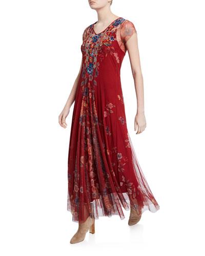 Jolyann Floral Short-Sleeve Long Mesh Dress