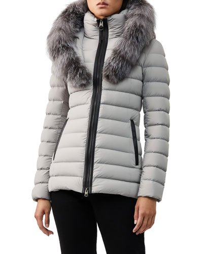 Kadalina Fur-Trim Hooded Puffer Coat