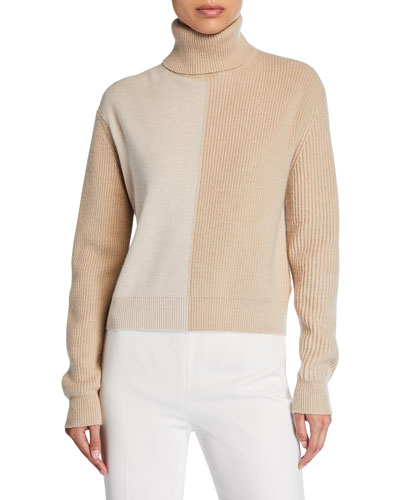 Colorblock Cashmere Turtleneck Sweater