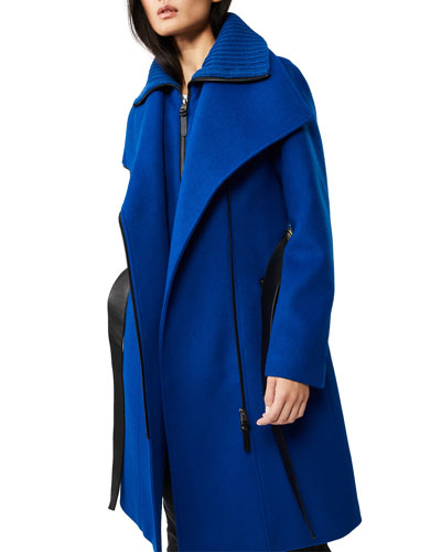 Nori Midi Asymmetric-Zip Wrap Coat