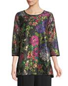 Caroline Rose Petite Midnight Garden 3/4-Sleeve Shimmer