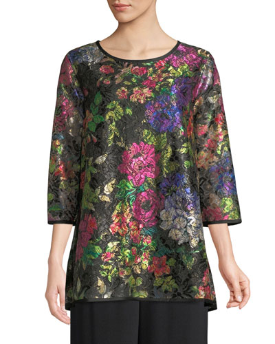 Petite Midnight Garden 3/4-Sleeve Shimmer Floral-Print Lace Tunic w/ Tank Liner