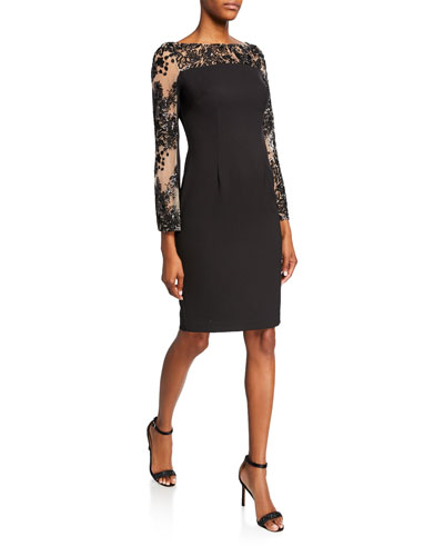 Crepe Sheath Dress with Embellished Long Sleeves