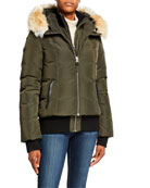Mackage Romane Coyote Fur-Ruff Hooded Knit-Trim Puffer Jacket