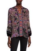 Johnny Was Printed Blouse with Front Embroidery &