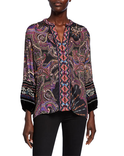 Printed Blouse with Front Embroidery & Velvet Trim