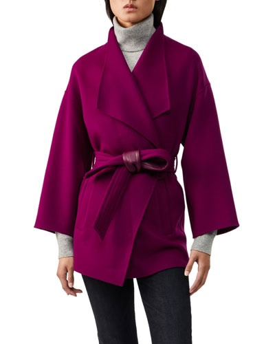 Gail Leather-Belted Wool Wrap Coat