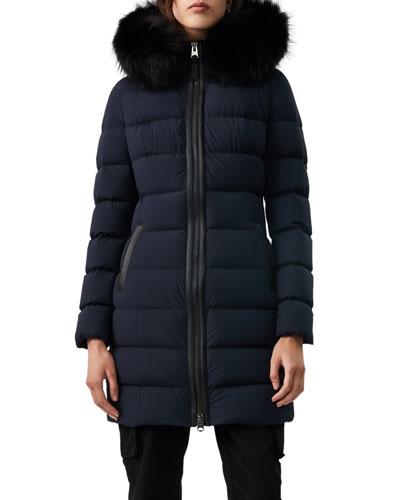 Calla Fur-Trim Hooded Puffer Coat