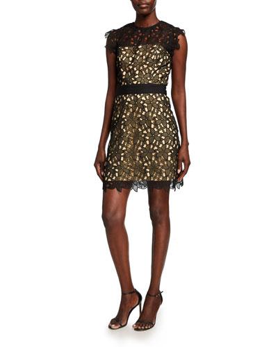 Leila Floral Guipure Lace Short Dress