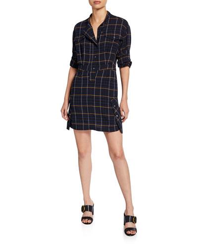 Mandarin-Collar Plaid Shirt Dress
