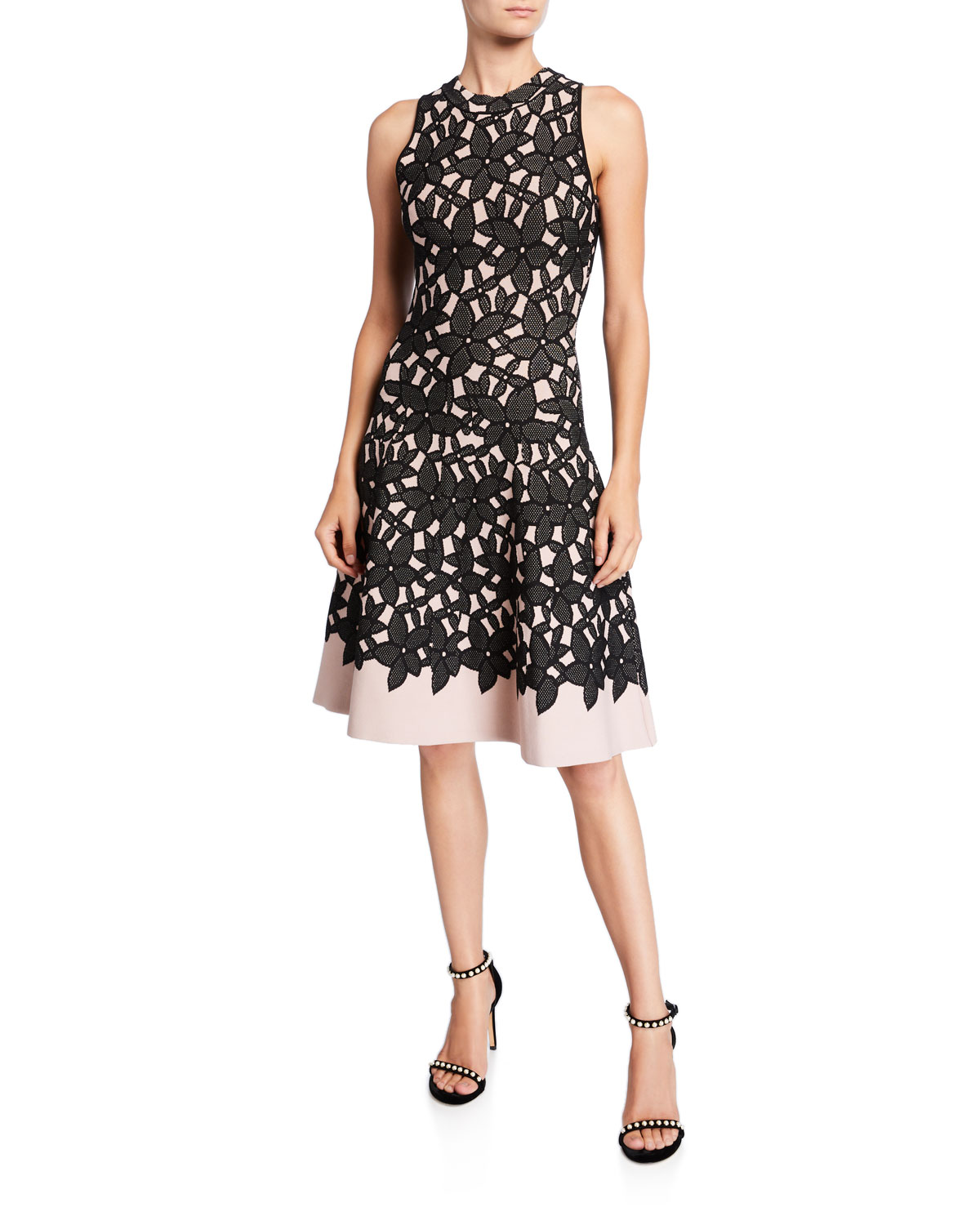 Milly Dresses SLEEVELESS FLORAL MESH JACQUARD FLOW DRESS