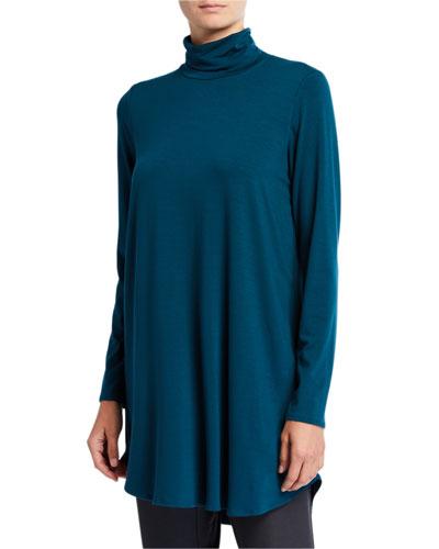 Plus Size Scrunch Turtleneck Jersey Tunic Sweater