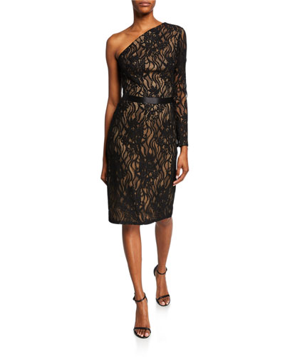 One-Shoulder Lace Cocktail Dress