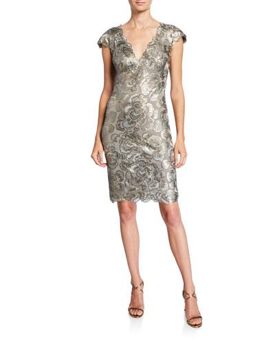 Cap-Sleeve Sequin Lace Dress