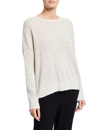 Plus Size Speckle Crewneck Organic Cotton Sweater