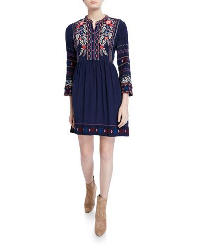 Plus Size Ellie Wide-Hem Crepe De Chine Dress