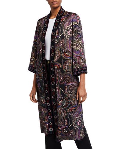 Long Velvet Mix Kimono Jacket