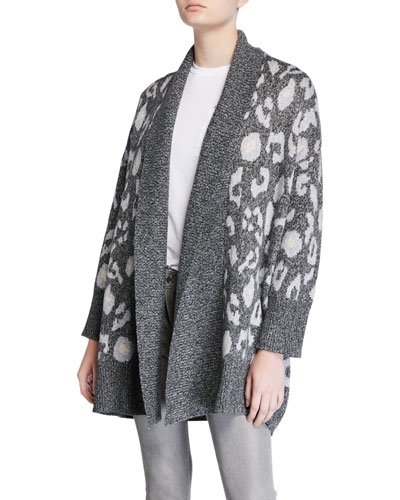 Molly Leopard Shawl-Collar Cardigan