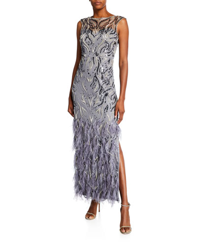 Beaded Cap-Sleeve Column Gown with Feathers