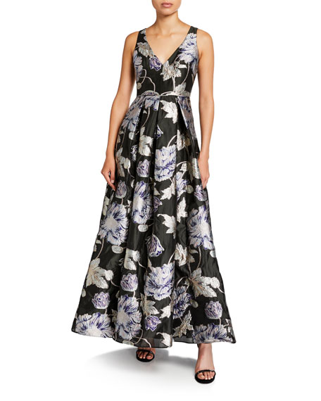 Aidan Mattox Floral Brocade V-Neck Sleeveless Ball Gown