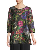 Caroline Rose Plus Size Midnight Garden 3/4-Sleeve Shimmer