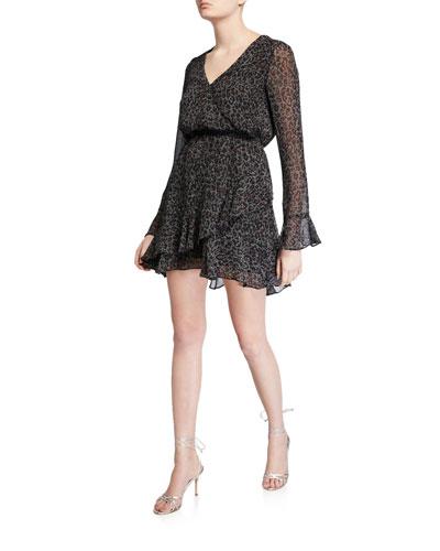 Amity Speckled Leopard Long-Sleeve Ruffle Dress