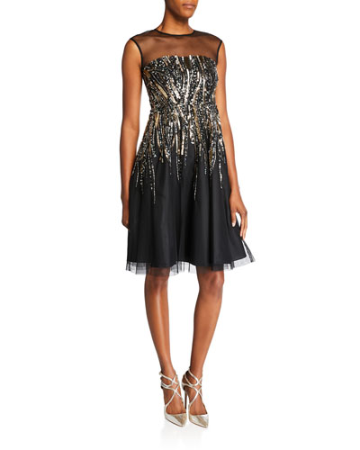 Beaded Cap-Sleeve Illusion Yoke Cocktail Dress