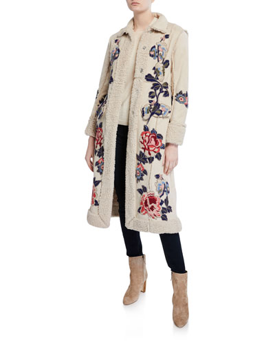 Swergi Floral Embroidered Button-Front Sherpa Coat