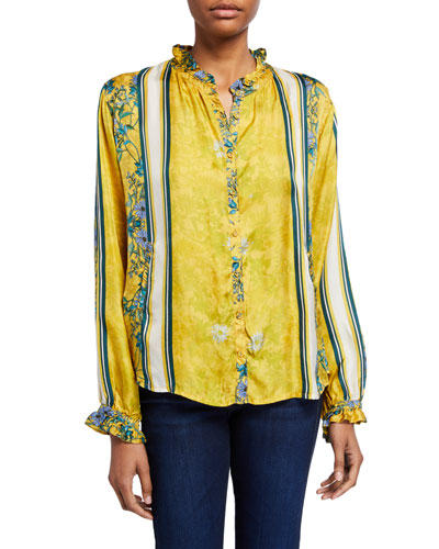 Bellisima Stripe Silk Twill Ruffle Blouse