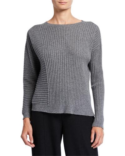 Petite Ribbed Italian Cashmere Crewneck Sweater