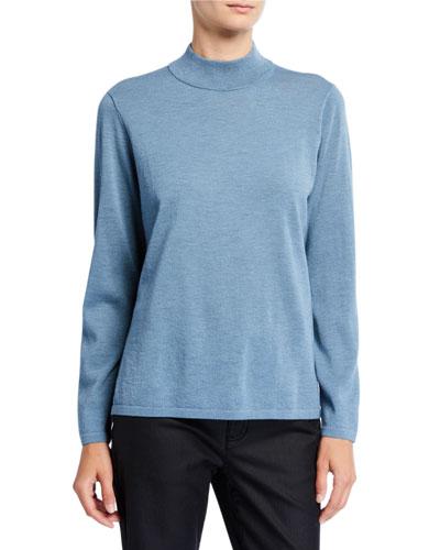 Mock-Neck Wool Crepe Sweater