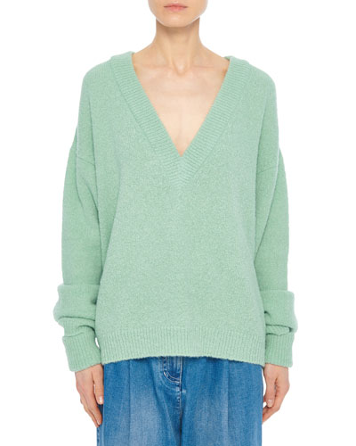 Airy Alpaca V-Neck Pullover with Arm Band Cuffs
