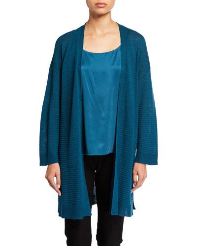 Petite Organic Linen/Cotton Bracelet-Sleeve Kimono Cardigan